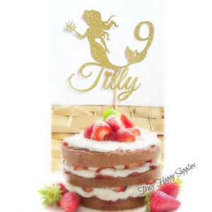Image Is Loading Custom Mermaid Birthday Cake Topper Personalised Name And