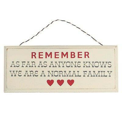 dotcomgiftshop WE ARE A NORMAL FAMILY CREAM WOODEN SIGN FUNNY HOUSEWARMING GIFT