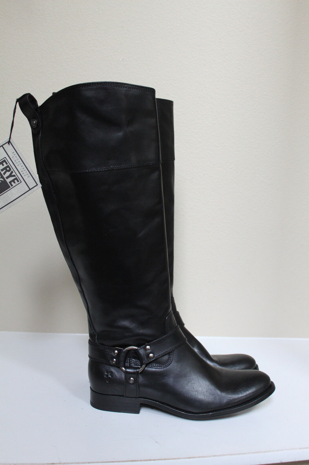 New sz 6 Frye Melissa Harness Black Leather Tall Riding Low Heel Boots Shoes