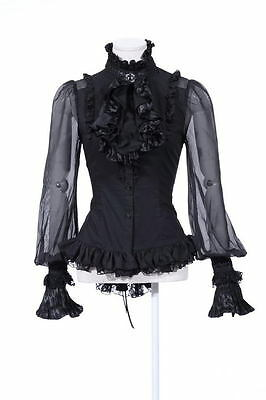 RQ-BL rqbl schwarz black Gothic Bluse mit Kragen goth szene romantic WGT 2Teilig