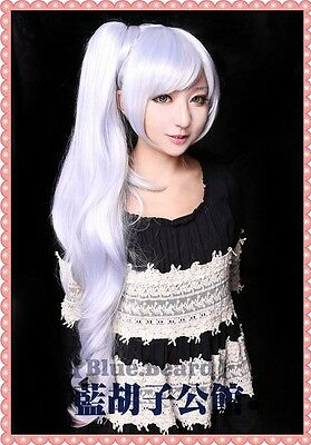 "RWBY ""White"" Trailer Weiss Schnee Long Anime Wavy Cosplay Costume Wig + Free CAP"