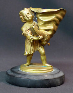 B 19èm Statuette Sculpture Bronze Doré 13cm860g Petit Poucet à La Botte Déco Utilisation Durable