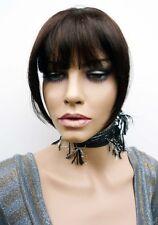 50% HUMAN HAIR TOP CLOSURE DARK BROWN CLIP IN FRINGE EXTENSION DEV 4