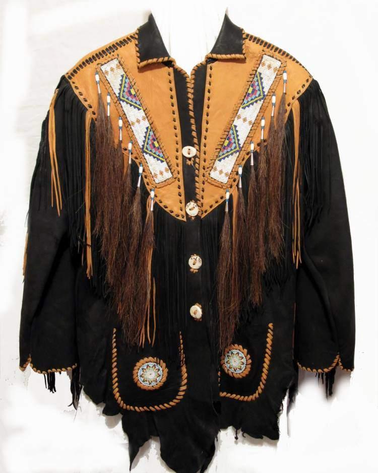 Hombres Vendimia Occidental Capa el Cowboy Flecos y Gamuza Rosario Gamuza y Chaqueta 60569d