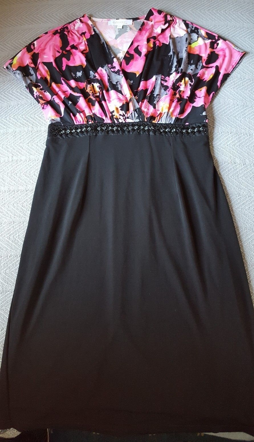 Changes by Together damen knit dress schwarz floral v-neck beaded 10 12 M L
