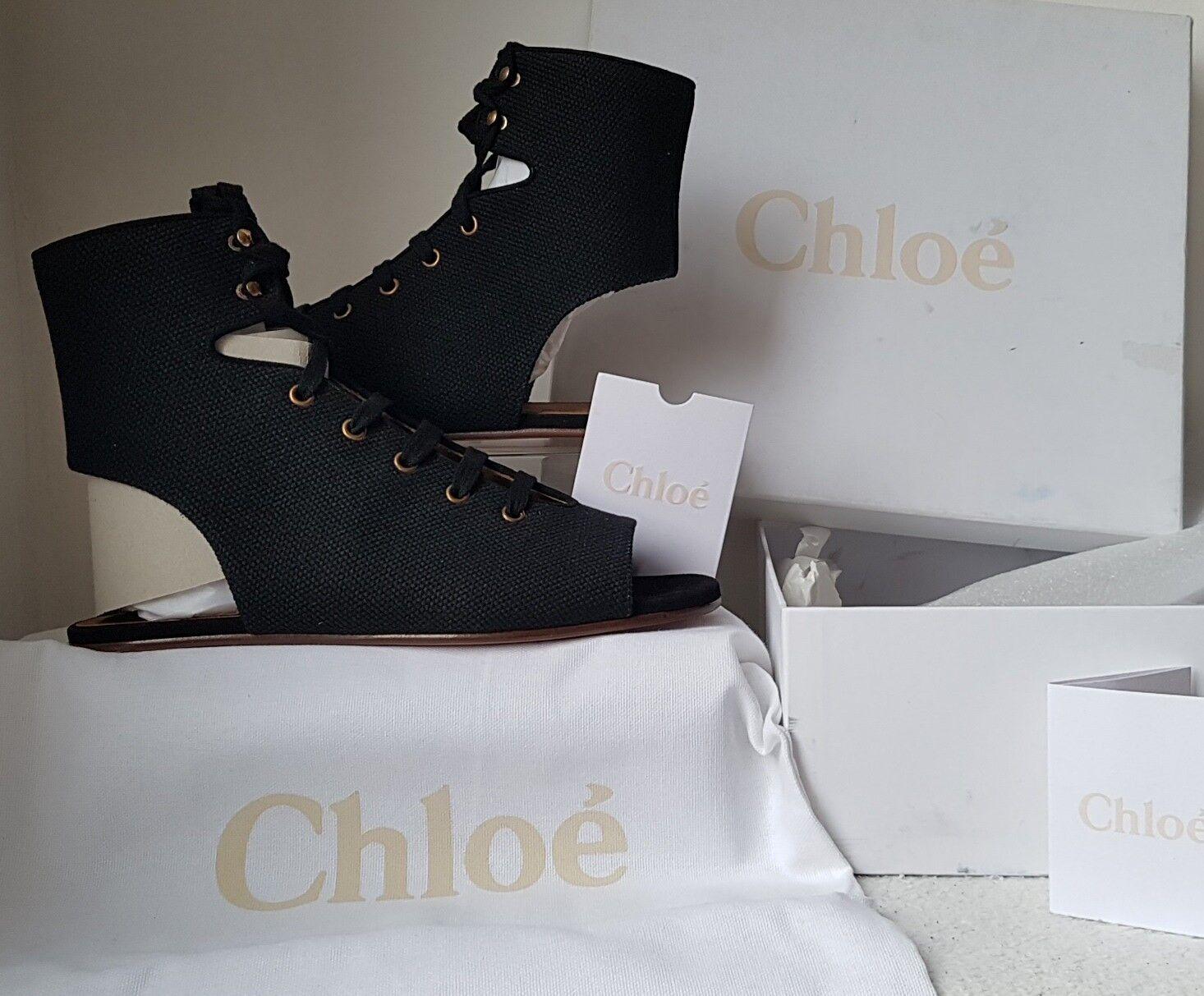 BNIB Black Chloe Canvas Lace Up Gladiator Sandals. UK Size 38.5 EU 38.5.  700