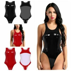 Women-PU-Leather-Bodysuit-Wetlook-Nightclub-Lingerie-High-Cut-Tank-Thong-Leotard