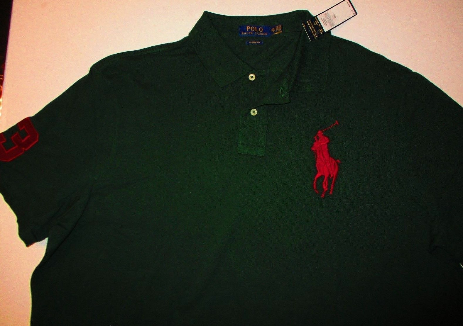 Polo Ralph Lauren Mens Classic Fit Polo Shirt Tee Red Green 3 Big Pony Logo  XXL