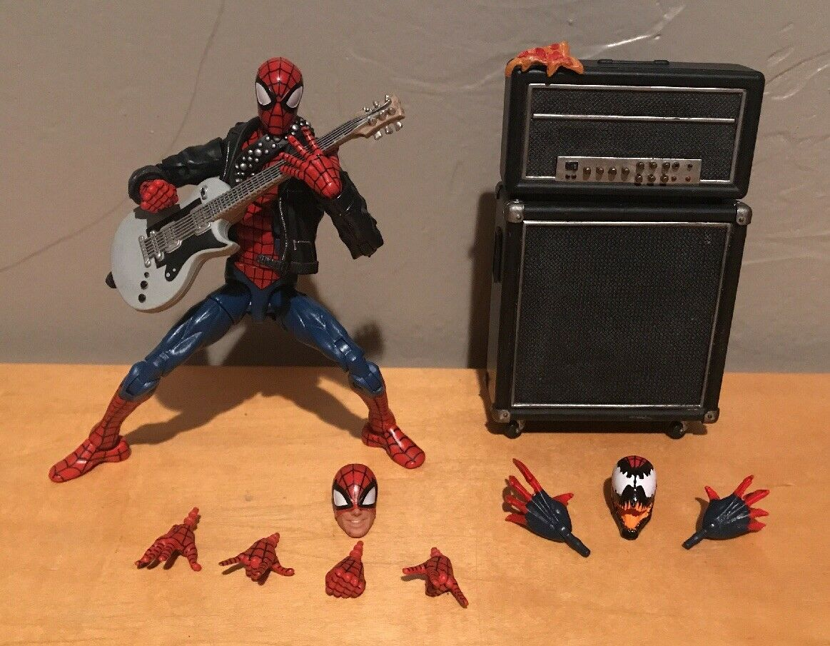 Custom Marvel Legends Punk Spider-Man Peter Punker Pizza Guitar Amp + Extras Lot