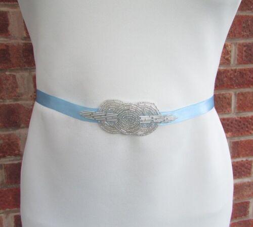 Seed Bead Art Déco demoiselle d/'honneur robe de mariée ceinture Mariage Bal Argent Satin 5273