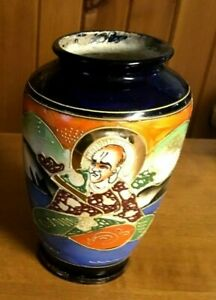 Vintage-Large-Hand-Painted-Japanese-Satsuma-Moriage-Porcelain-Vase-Flower