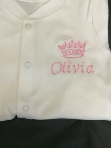 Personalised Embroidered Prince //Princess Baby Grows New baby gift// keepsake