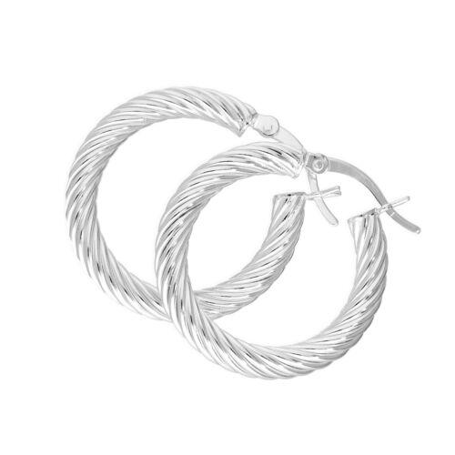 Véritable argent sterling 925 twist ovale boucles d/'oreilles créoles hoops twisted tourbillons
