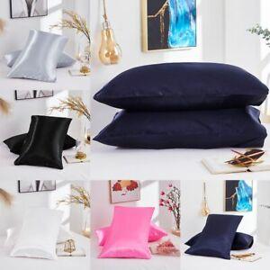 Satin Silk Pillowcase Pillow Case Cover Standard King Queen Cushion Cover Soft