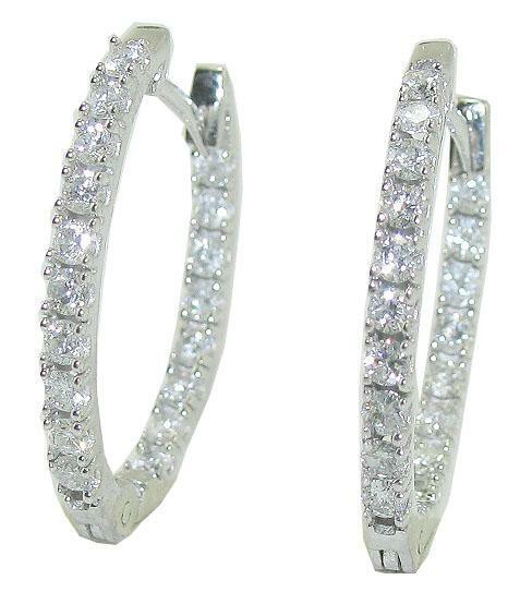 Hoops Earrings Natural Diamond Oval Shape 1.01 Carat SI1 G 14K White gold