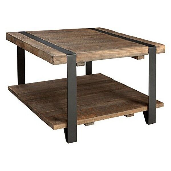 Alaterre Modesto 27in Reclaimed Wood Square Coffee Table Rustic Natural