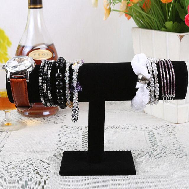 T-Bar Bracelet Chain Watch Rack Velvet Hard Jewelry Display Stand Holder