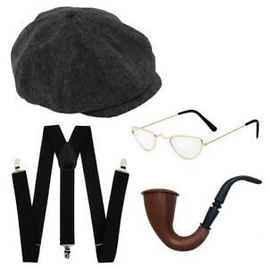 a3779d65472 ADULTS OLD MAN GRANDAD SET FLAT CAP PIPE BRACES GLASSES OAP MENS ...