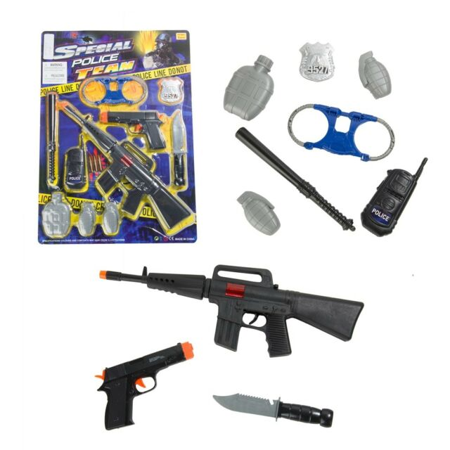 10pcs Special Police Pretend Play Kids Toy Gun Set Rifle Pistol Knife  Grenade US