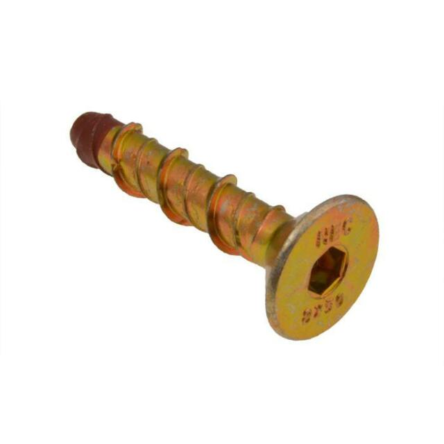 Qty 1 Countersunk Screw Anchor M8 (8mm) x 100mm Zinc Yellow Masonry XBolt
