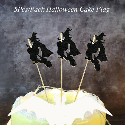 5pcs Pack Ghost Witch Cat Halloween Cake Toppers Cupcake Flag
