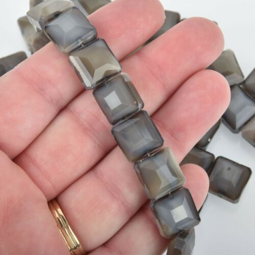 12mm GRAY LUSTER Square Crystal Glass Beads x15 beads bgl1777
