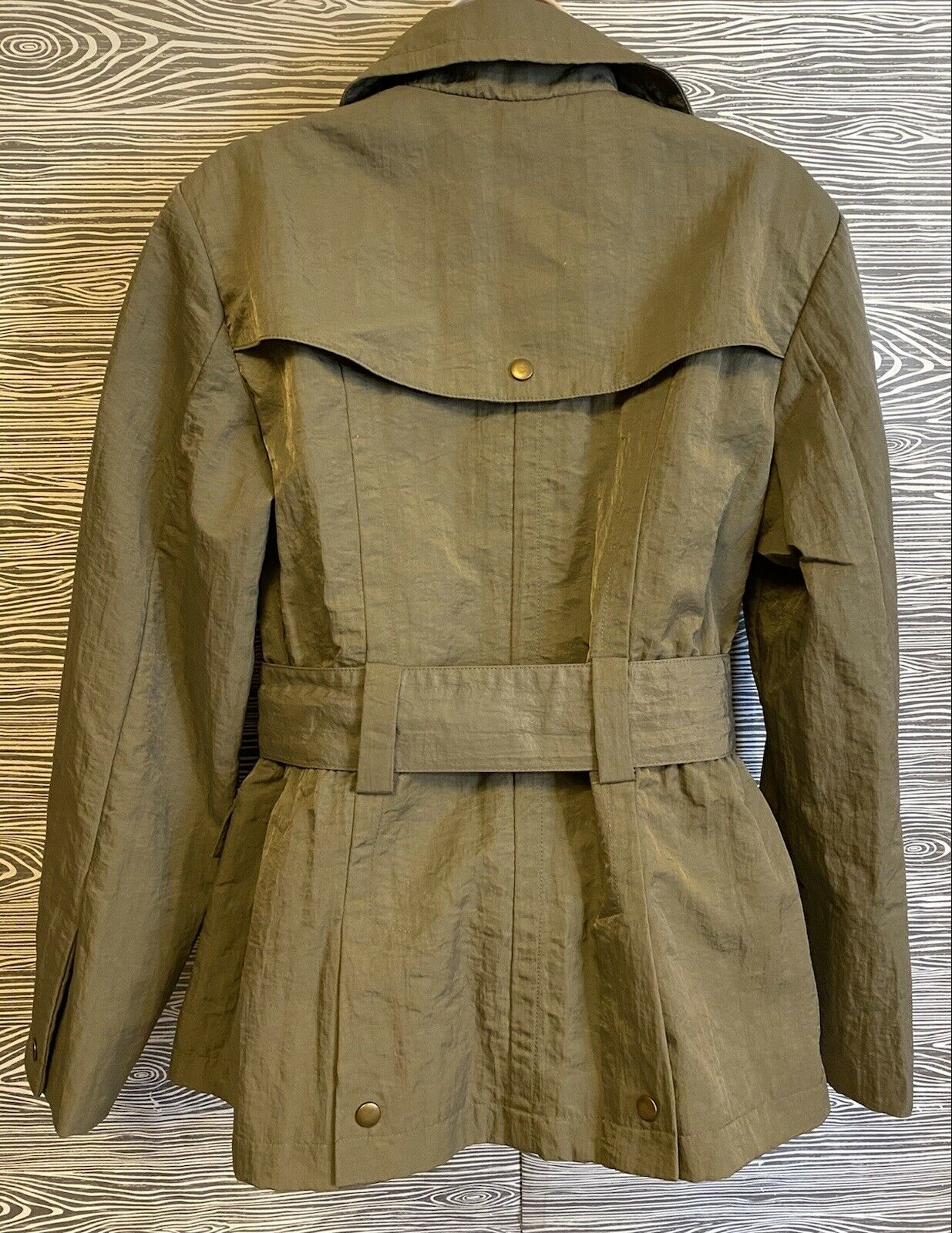 J Jill Olive Green SILKY BELTED Military TRENCH C… - image 3