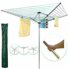 50m Aluminium Washing Line Revolving Rotary clothes Dryer + Free Cover And Spike