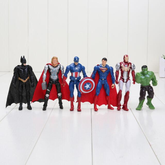 SET 6 PERSONAGGI AVENGERS ACTION FIGURE SUPERMAN BATMAN HULK CAPITAN AMERICA