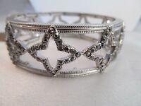 Monet Silver & Marcasite Bangle Bracelet, Signed, Shiny, Detailed, Unique