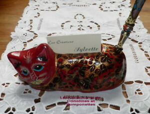 Chat Porte-cartes En Papier Mache Decore Main Fond Rouge Et Or Qqrjpuzu-08002917-916094442