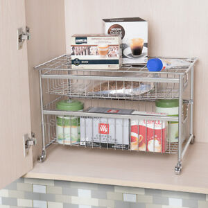 Amazing 2 Tier Under Sink Rack Organizer Stackable Sliding Double Home Interior And Landscaping Oversignezvosmurscom