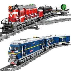 City-Train-Power-Driven-Diesel-Rail-Train-Cargo-With-Tracks-Set-Model-Technic