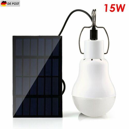 15W LED Solar Glühbirne Lampe Solarlampe Solarleuchte Außen-Beleuchtung Camping