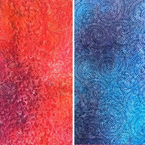 Indian Remolinos Batik 100/% Tela De Algodón-Rojo//Azul batiks con Sari estilo Remolinos