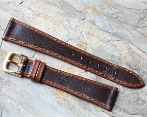Brown-European-tapered-Genuine-Leather-vintage-watch-band-20mm-NOS-1960s-70s