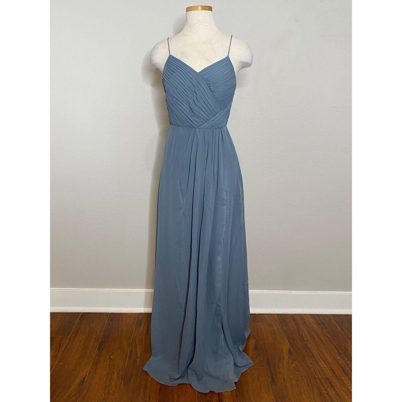 Weddington Way Camille Sleeveless Blue Bridesmaid Maxi Dress Gown Womens 4