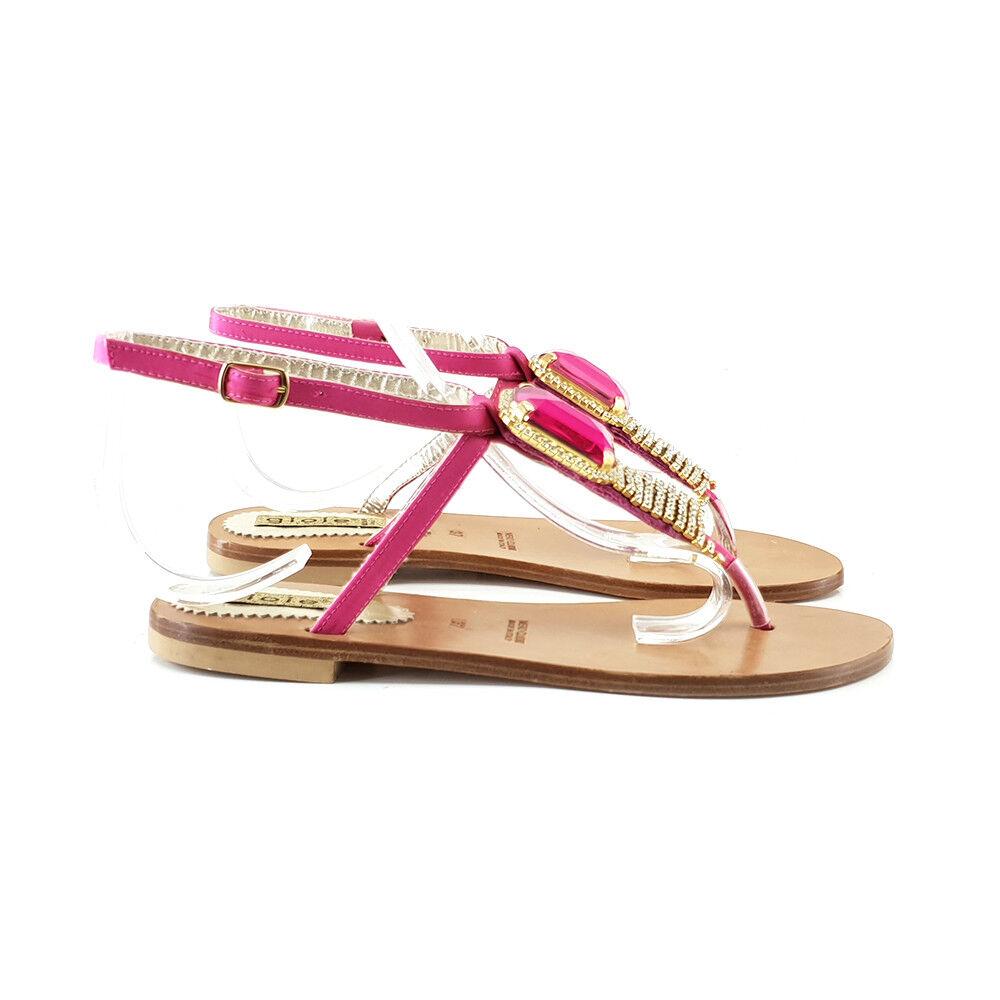 Sandalo women fuxia con accessorio Made in  - PF391 FUXIA