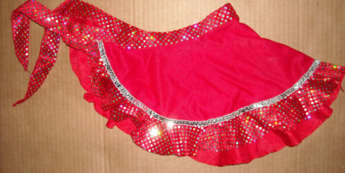 NEW Crepe and Velvet HOLOGRAM Sequin TRIM DANCE SARONG GIRLS SIZES Red or Plum