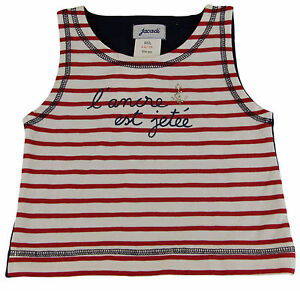 JACADI-Girl-039-s-Merlin-Adorable-Red-White-Striped-Tank-Top-Size-12-Years-NWT-32
