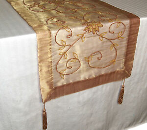 Image Is Loading BEADED SHEER TABLE RUNNER INDIAN TABLE TOPPER LG
