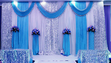20X10FT Wedding Stage decor backdrop party drapes swag silk fabric curtain Blue