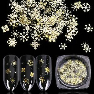 Nail-Art-3D-Gold-Metal-Christmas-Snowflake-Star-Nail-Glitter-Sequins-Decoration