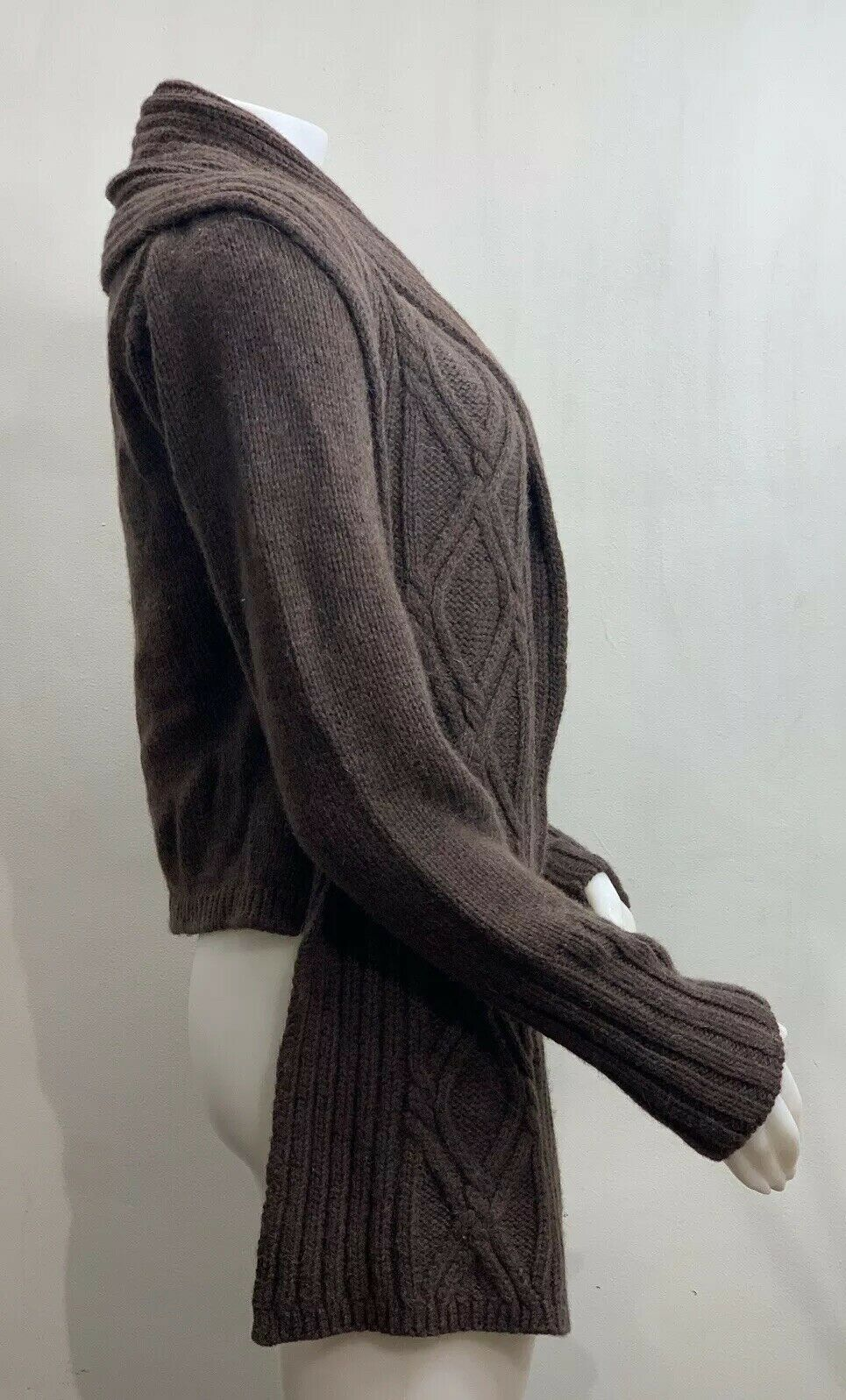 Inis Meain Wool Alpaca Cashmere Brown Knit Open F… - image 4