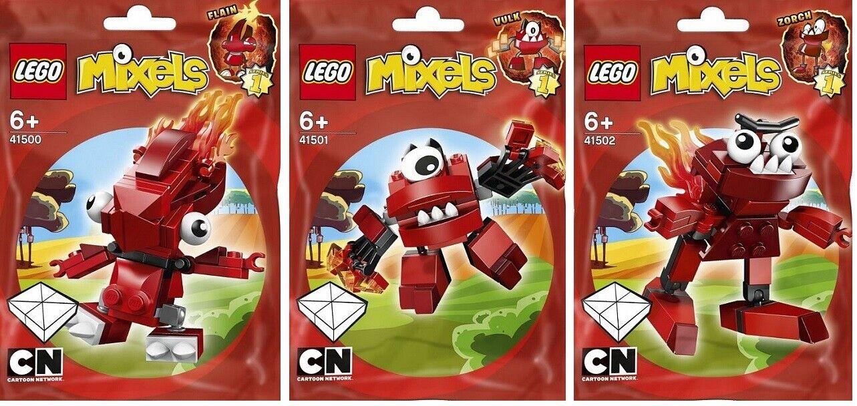 Lego Mixels Serie 1 Flain 41500 Vulk 41501 ZORCH 41502 Cartoon Network Nuevo