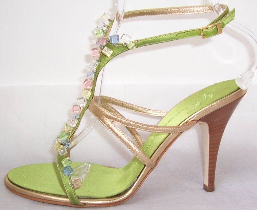 GIUSEPPE ZANOTTI Green gold Leather Lucite Cube Jewel Sandal shoes 9.5 or 10.5