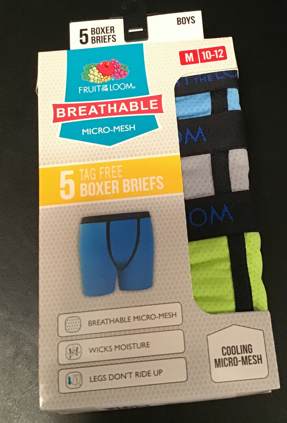 Fruit of the Loom Boys 5 Pack Breathable Boxer Brief Underwear Medium , Micro//Mesh Assorted 10-12