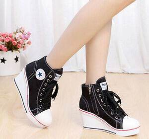 8ce9564dd Women Girls High Top Lace Up Canvas Sneakers Platform Wedge Heel ...