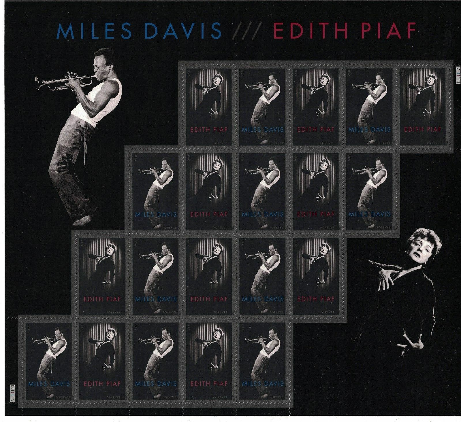 2012 45c Miles Davis/Edith Piaf, Sheet of 20 Scott 4692