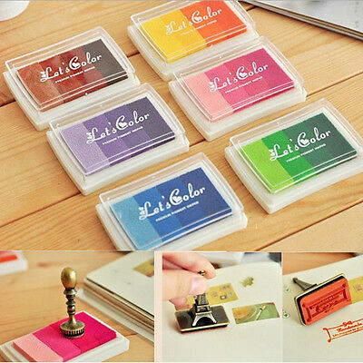 DIY 4Colors Gradient Oil Based Inkpad Signet For Rubber Stamps Paper Wood Craft